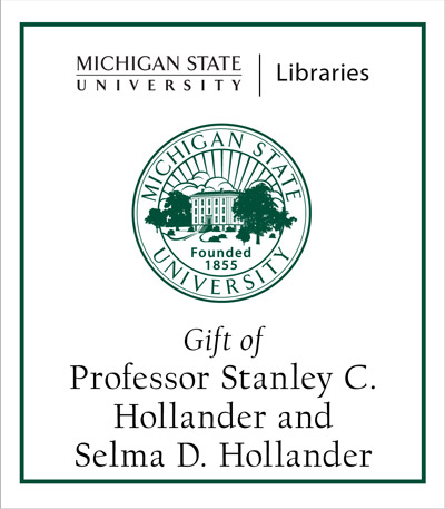 Gift of Professor Stanley C. Hollander and Selma D. Hollander