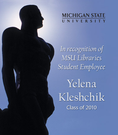 In Recognition of Yelena Kleshchik