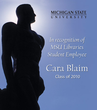 In Recognition of Cara Blaim