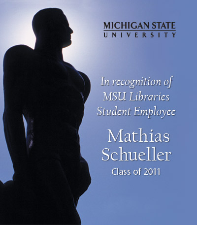 In Recognition of Mathias Schueller