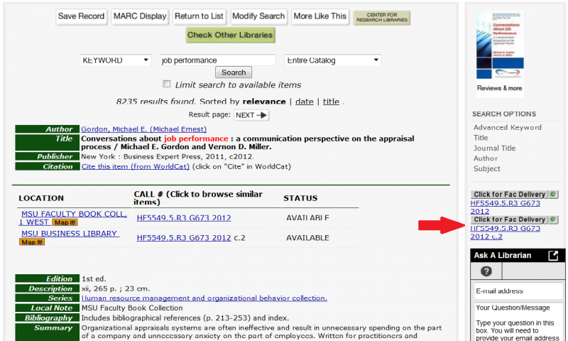 An example to a catalog page with the Faculty Delivery link, the call number to the right of the status column of the book's record (under Faculty Delivery), circled in red