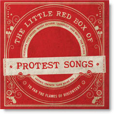 "Cover art for the record album ""The Little Red Box of Protest Songs."""