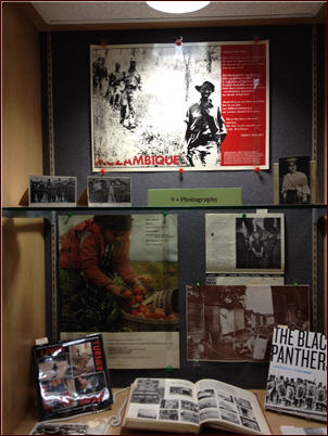 The Photography window in the Bearing Witness exhibit in Special Collections.