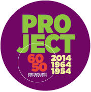 Purple circle with text Project 60 50, 2014, 1964, 1954; Michigan State University