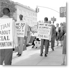 Photo of a civil rights picket line in Tallahassee, Florida, courtesy of the State Library and Archives of Florida, via Flickr.