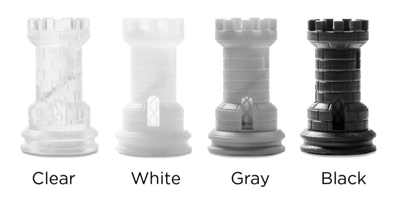 clear white grey and black castle chess pieces to show color options for Form 2 3D printer
