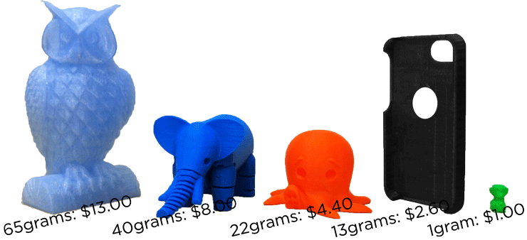 plastic items of varying sizes printed on 3D printer