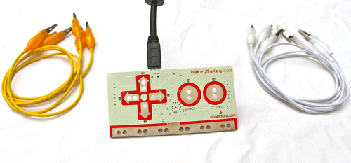 MaKey MaKey clips to items which the computer sees as keyboard keys