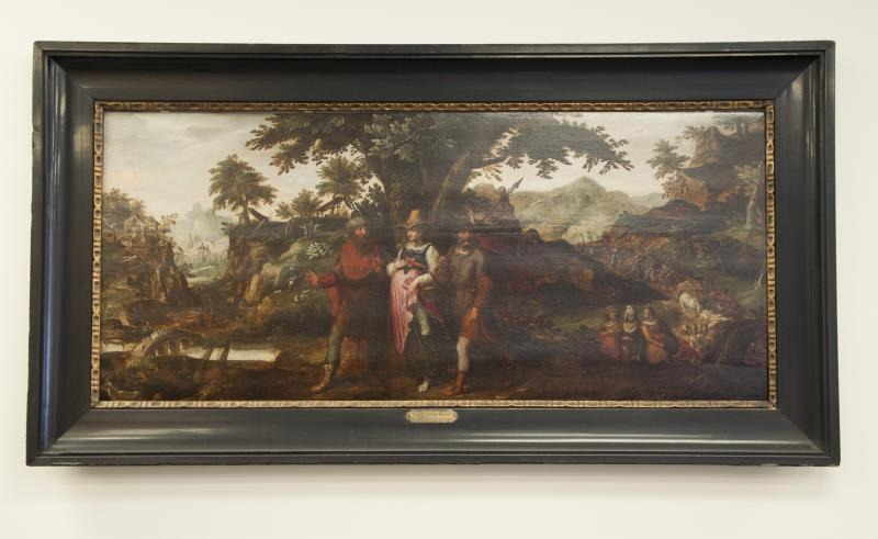 """Abraham and Lot Depart for Canaan"" - three people walking in a wooded pasture with more people in the background"