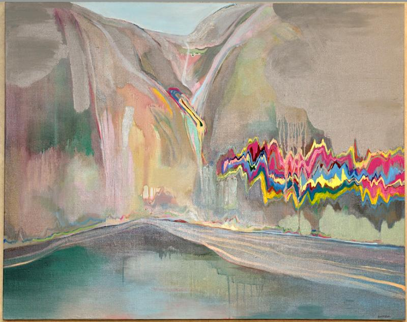 An acrylic description of a mountain or scenic ideal with artistic disturbance.