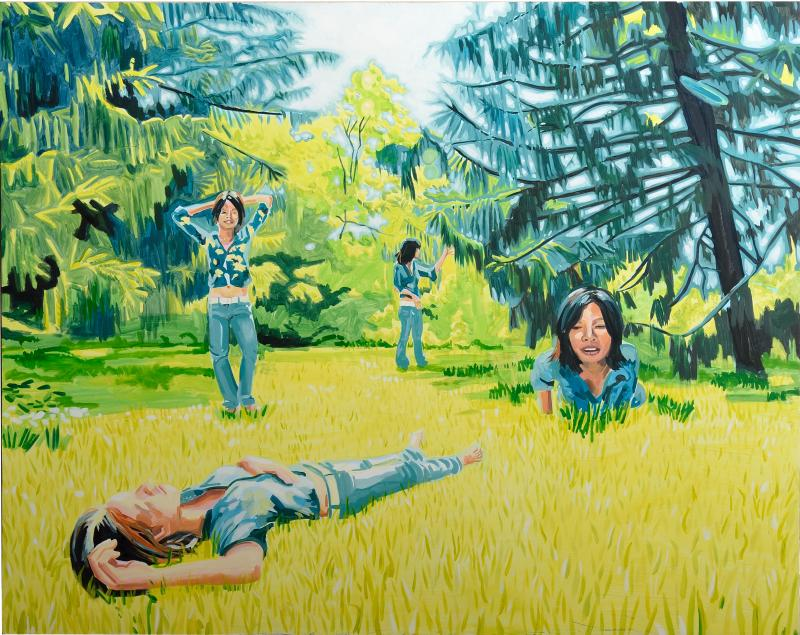 Three women in a meadow that appear to be the same woman.