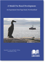 A Model for Rural Development cover image. Dark blue background with photo of auk statue from The Lost Bird Project.