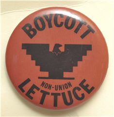 Image of a Boycott Lettuce button from the MSU Libraries collections.