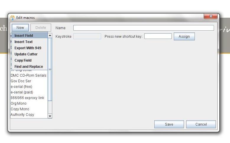 Sky river dialog box to edit macros and new edits dropdown menu