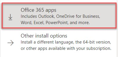 Select Office 365 apps