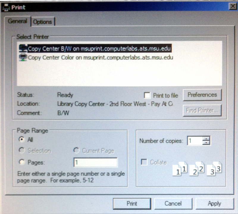 Windows 7 Print dialog box with the selection of available printers in the copy center.