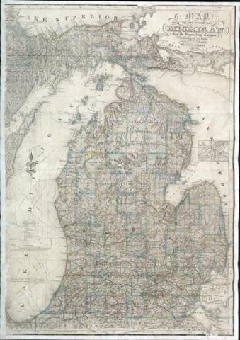1855 map of Michigan by John Farmer