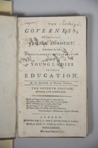 Governess, or Little Female Academy..., title page - link to text in description