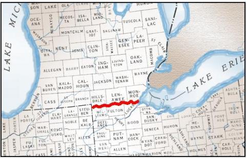 Michigan Ohio sawtooth boundary