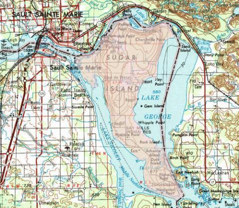 Sugar Stgeorge on Lake George Island Map