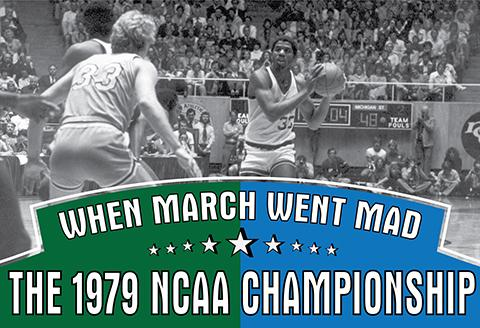 Tile banner with players Larry Bird and Magic Johnson
