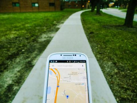 smart phone showing Google map of local area