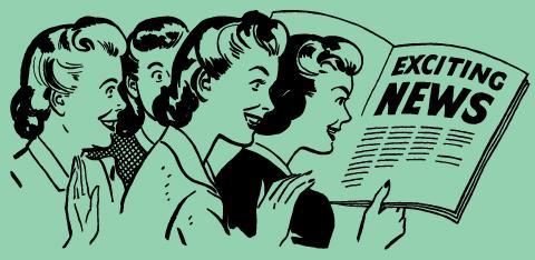 Four 50's-era women reading news media