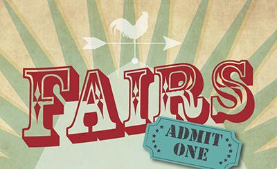 """graphic with word """"Fairs"""" and admission ticket"""