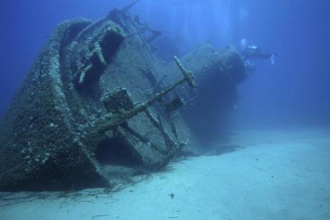 Underwater shipwreck.
