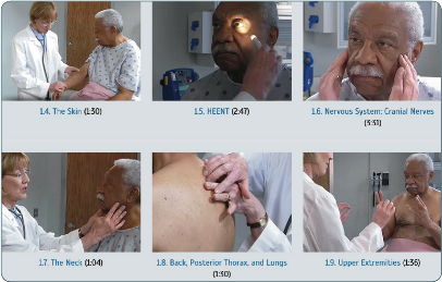screenshot of six videos showing a physician giving a patient a physical