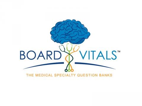 Board Vitals logo with a blue brain over top three stethescopes