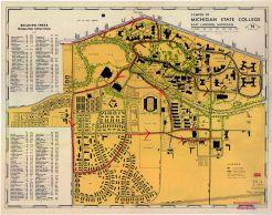 Michigan State College - 1947 Map