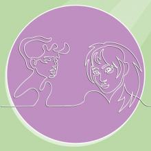 Line drawings of two women's faces