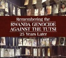 Exhibit title against backdrop of genocide victim photos