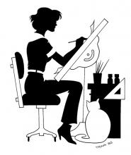 Artwork by Comic Pro Trinna showing woman drawing at an easel