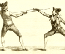 illustration of two men fencing in traditional garb