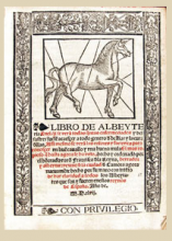 drawing of a horse with Latin text