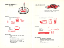 Recipe for Shabbos Candlestick Salad from Junior Jewish Cook Book. A half of a banana standing in a pineapple ring, with a cherry on top, is meant to look like a lit Sabbath candle.