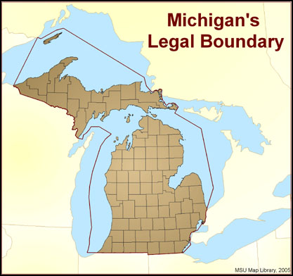 Evolution of Michigan\'s Legal Boundaries | Map Library | MSU Libraries