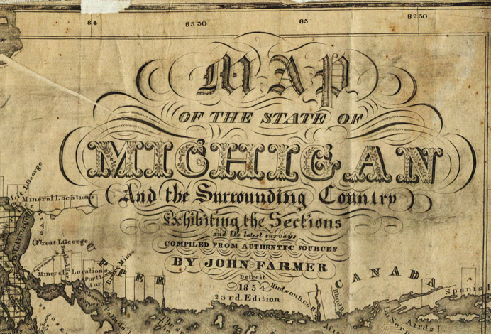 1854 Cartouche of the State of Michigan and surrounding country 23rd edition