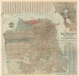 front of map of San Francisco 1914